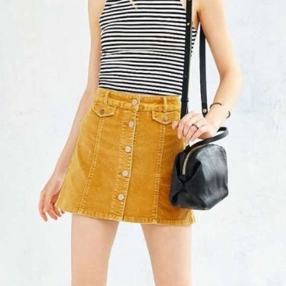 a39ab5fe97 Urban Outfitters Skirts | Uo Bdg Yellow Button From Corduroy Skirt ...